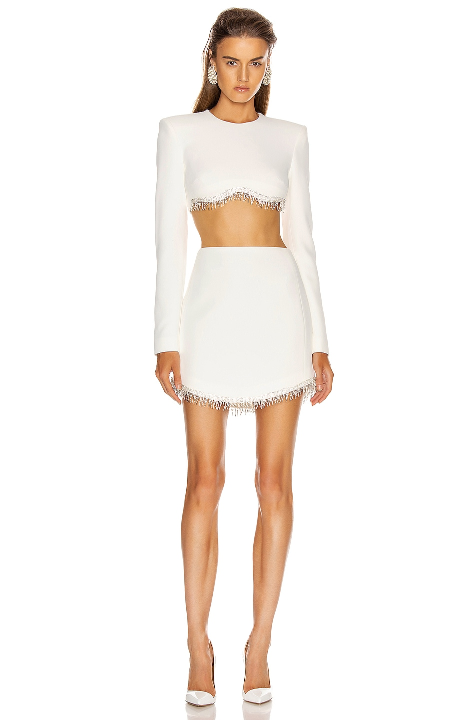 Image 4 of David Koma Crystal Chain Long Sleeve Empire Top in White & Silver