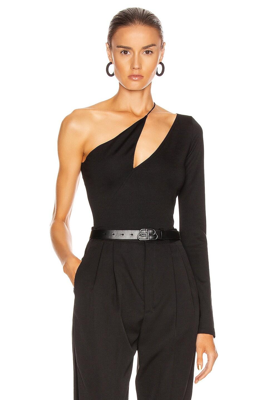 Image 1 of David Koma Diagonal Cutout Bodysuit in Black