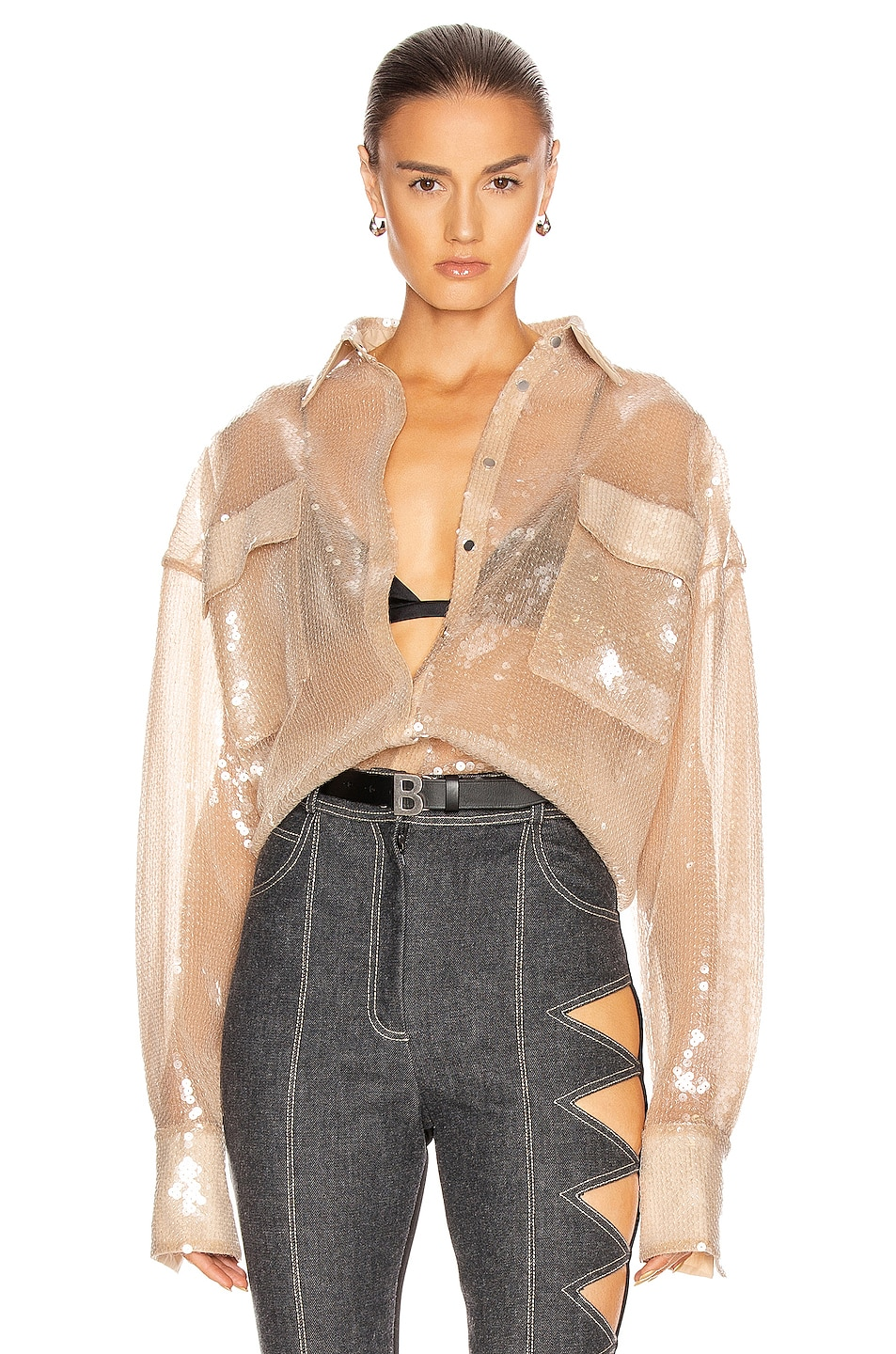 Image 1 of David Koma Sequin Oversized Shirt in Nude
