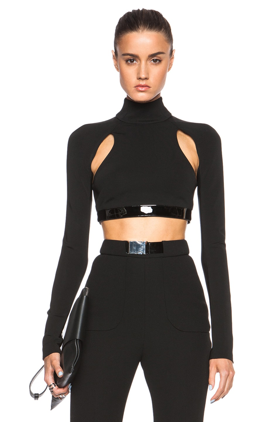 Image 1 of David Koma Long Sleeve Cut Out Leather Band Top in Black