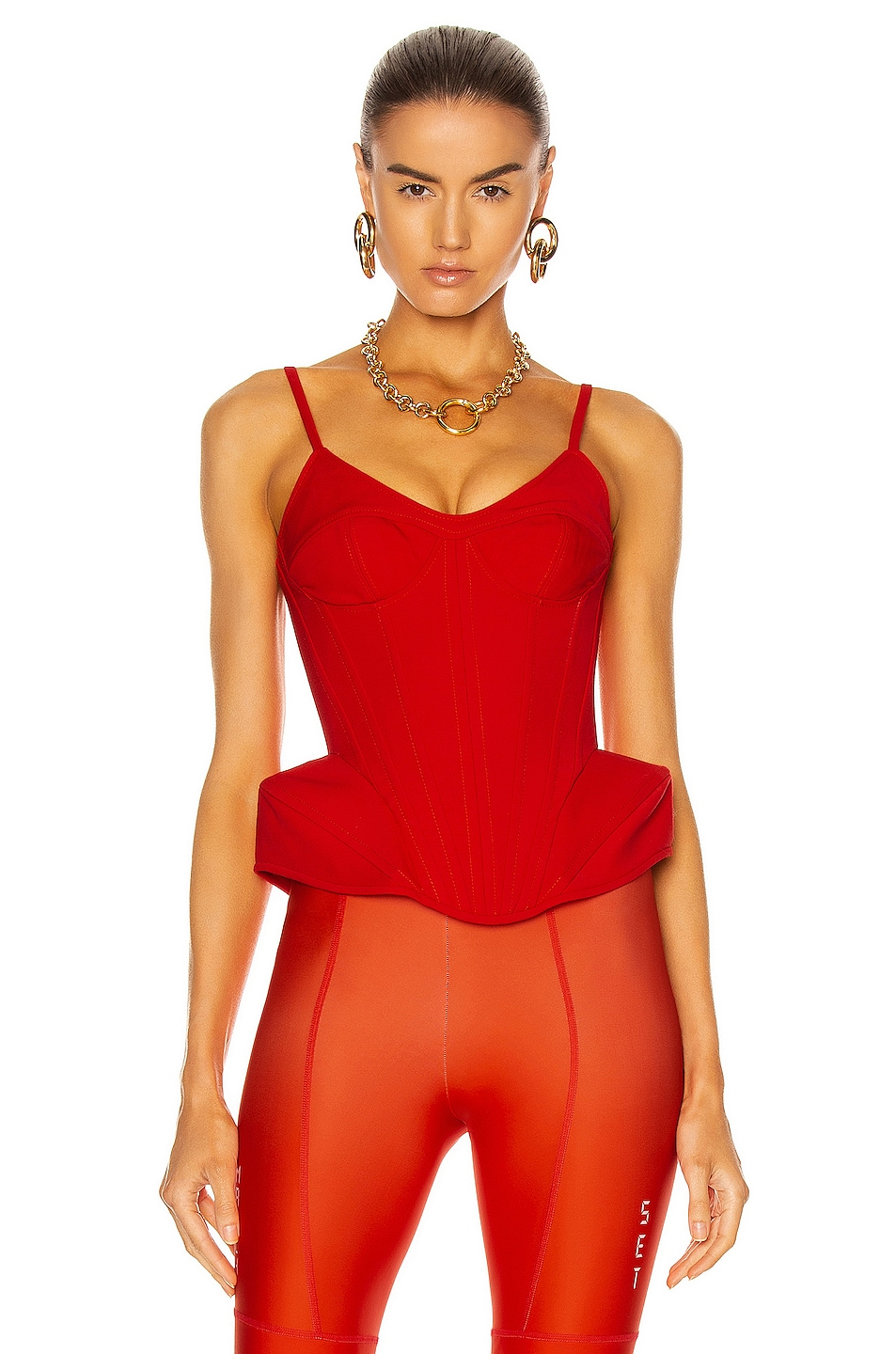 Image 1 of David Koma Puffed Hip Corset Top in Red