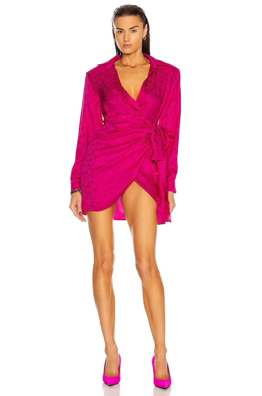Image 1 of Daniele Carlotta Asymmetric Jacquard Bow Mini Dress in Pink