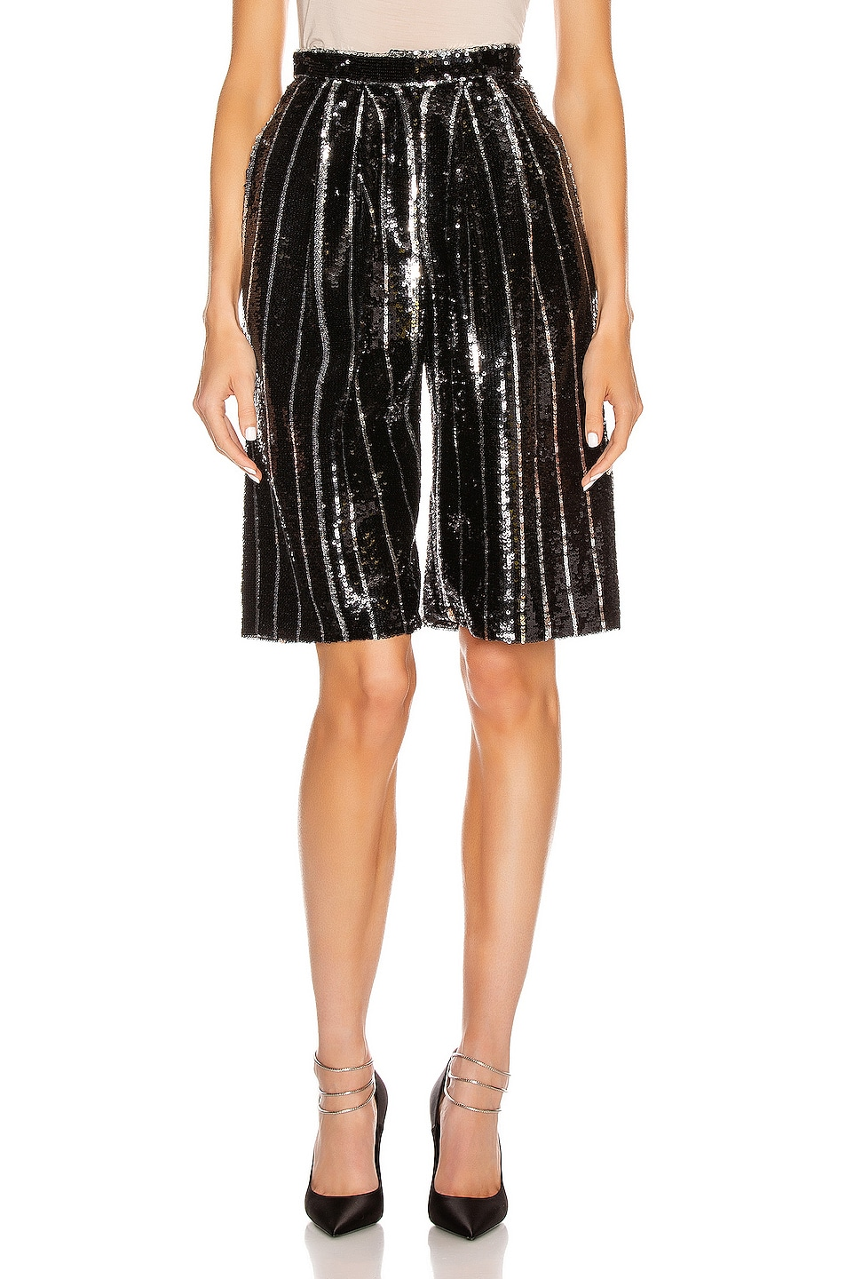 Image 1 of Daniele Carlotta Knee Length Shorts in Black & Silver
