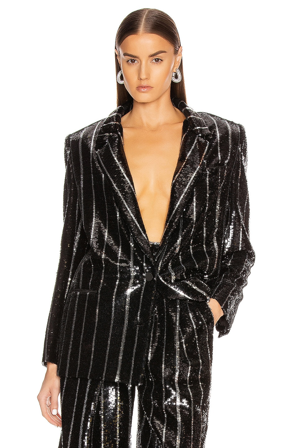 Image 1 of Daniele Carlotta Striped Blazer in Black & Silver