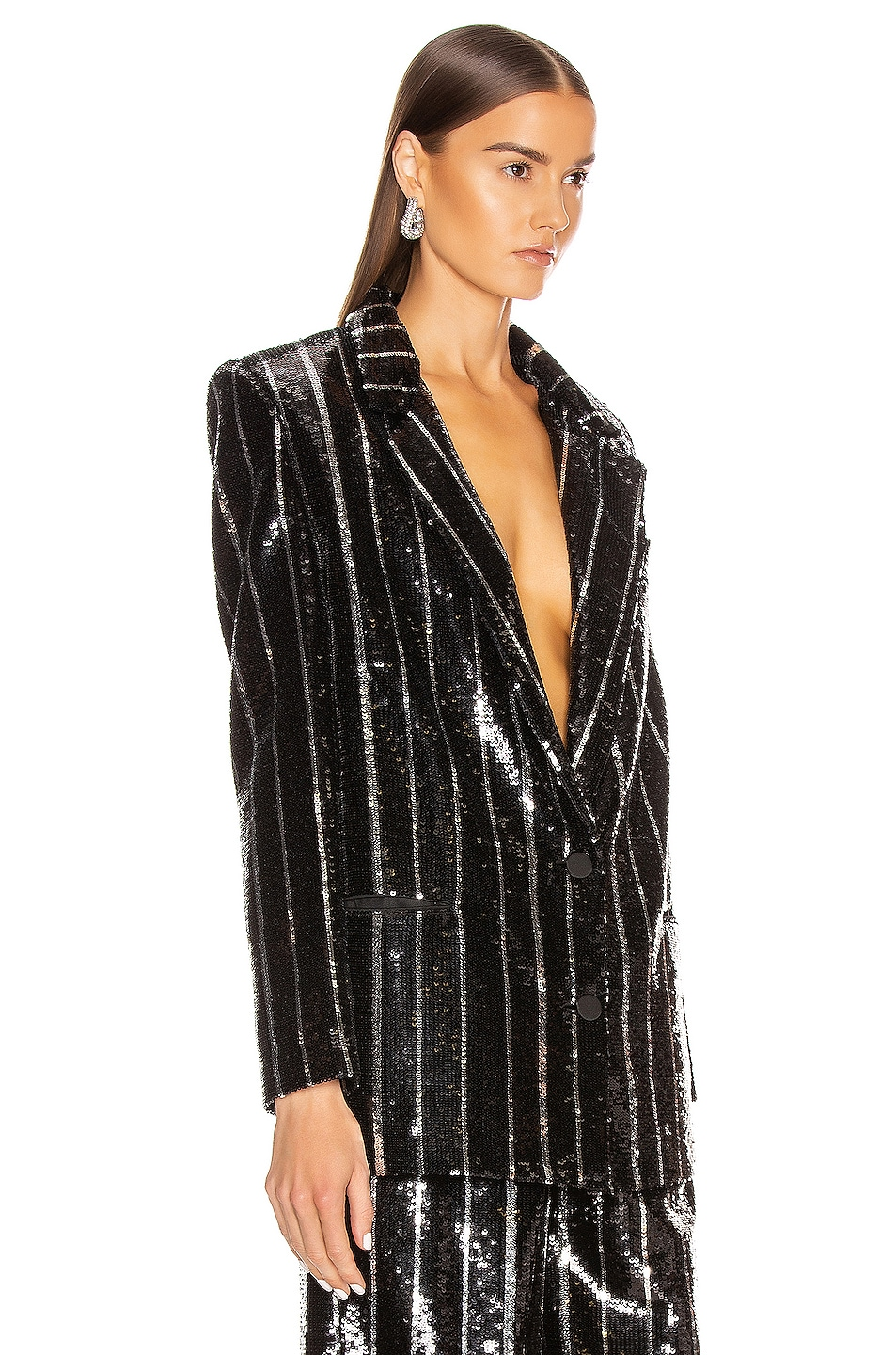 Image 2 of Daniele Carlotta Striped Blazer in Black & Silver