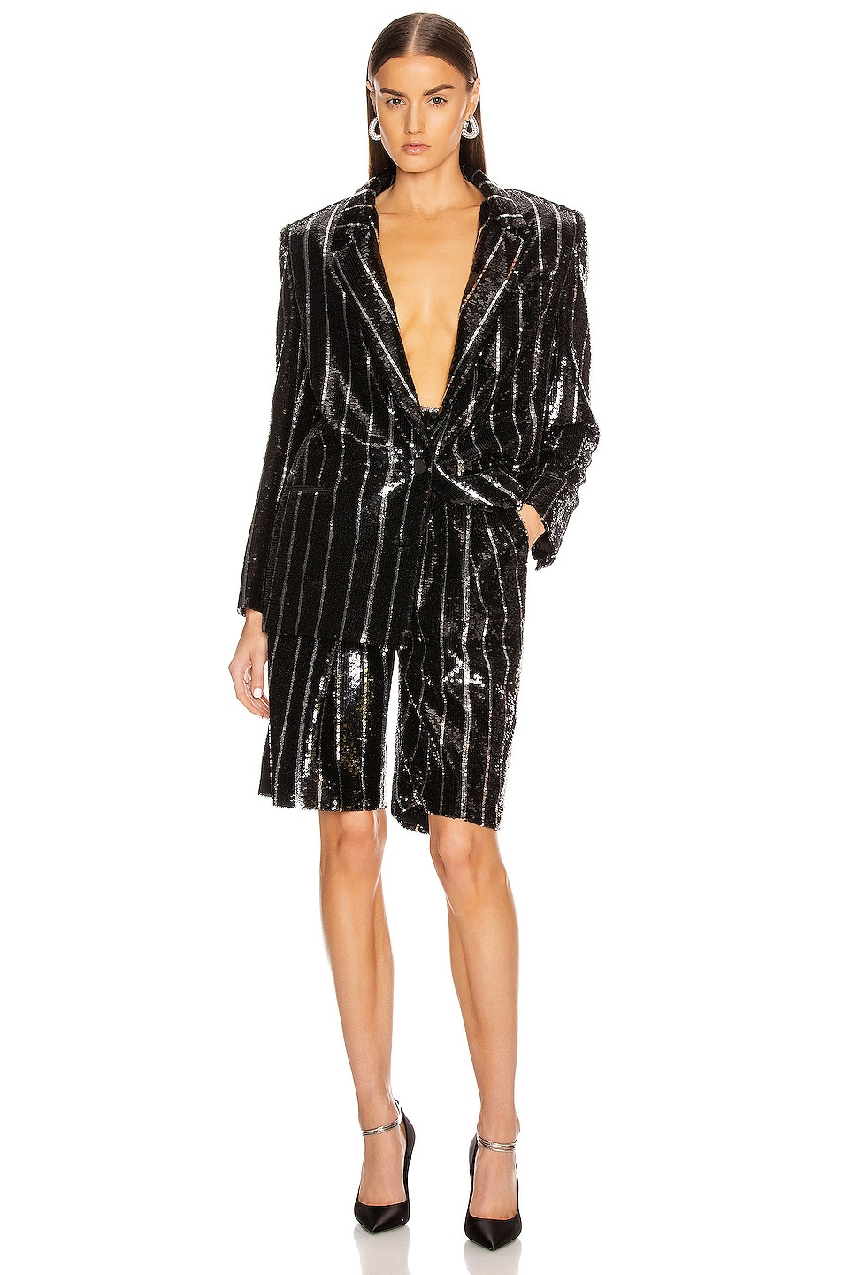 Image 4 of Daniele Carlotta Striped Blazer in Black & Silver