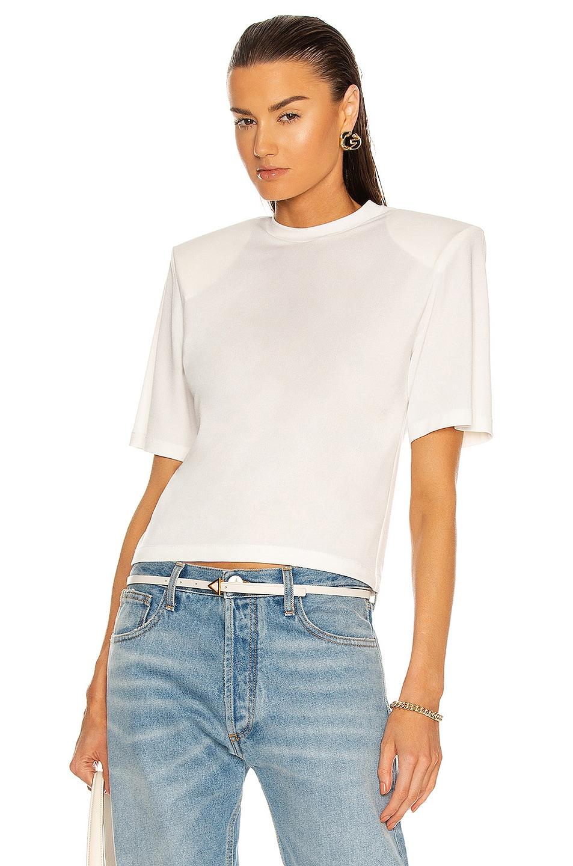 Image 1 of Daniele Carlotta Padded Shoulder Jersey T-Shirt in White