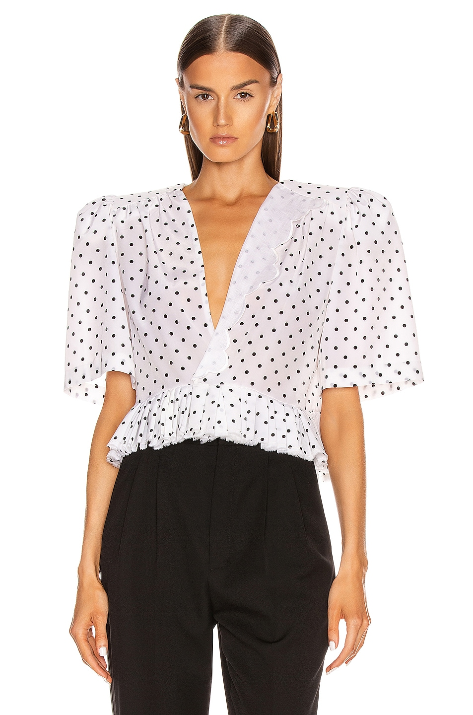 Image 1 of Daniele Carlotta V Neck Blouse in Polka Dots