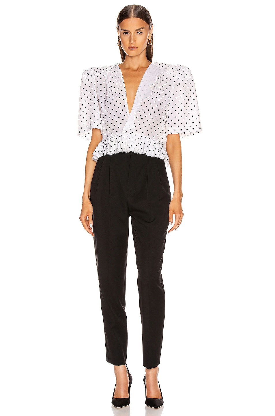 Image 4 of Daniele Carlotta V Neck Blouse in Polka Dots