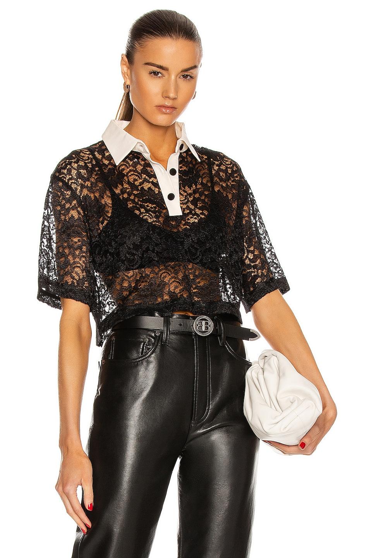 Image 1 of Daniele Carlotta Silk Collar Lace Polo Top in Black