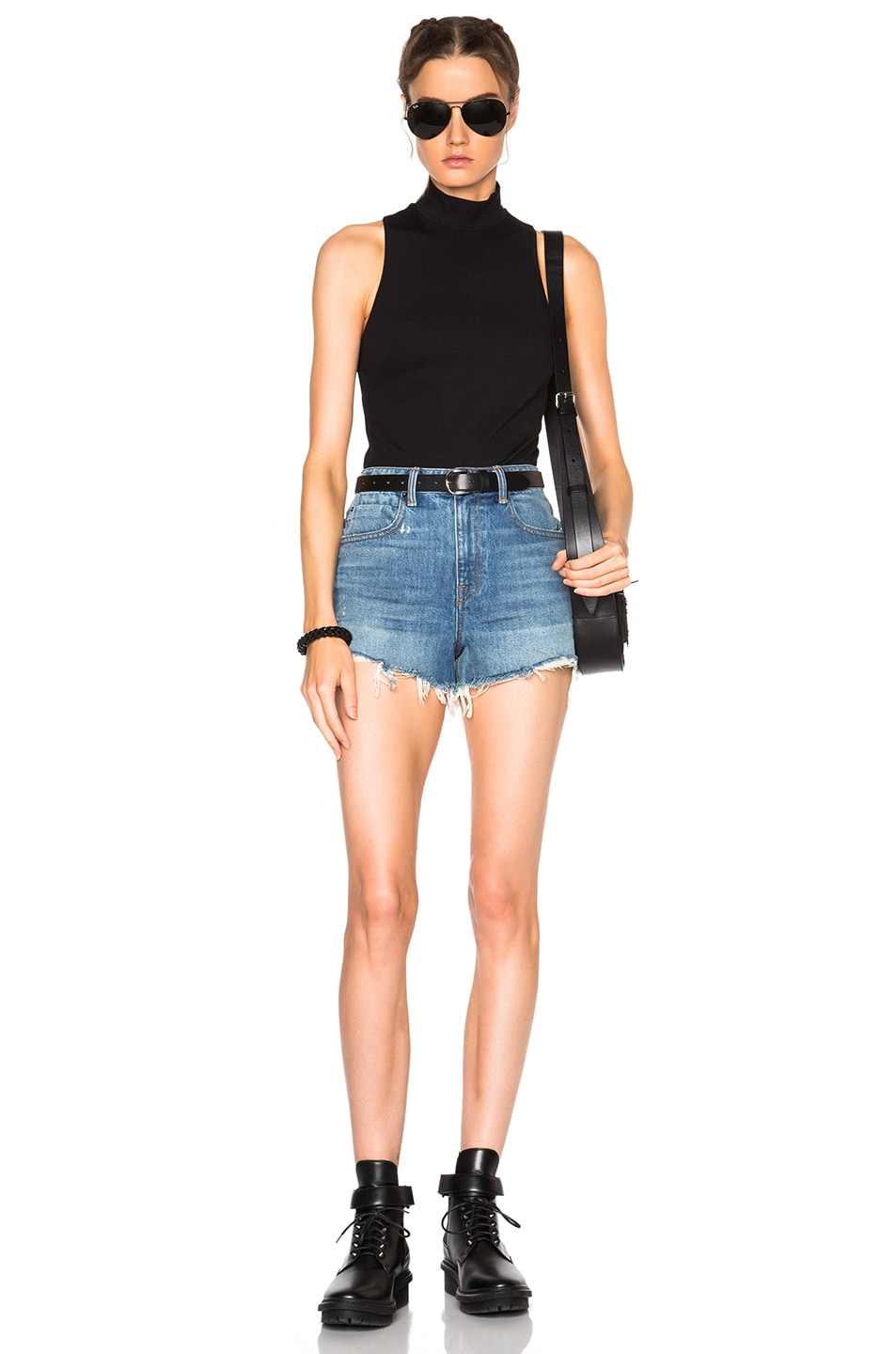 Image 5 of Alexander Wang Bite High Rise Shorts in Light Indigo Aged