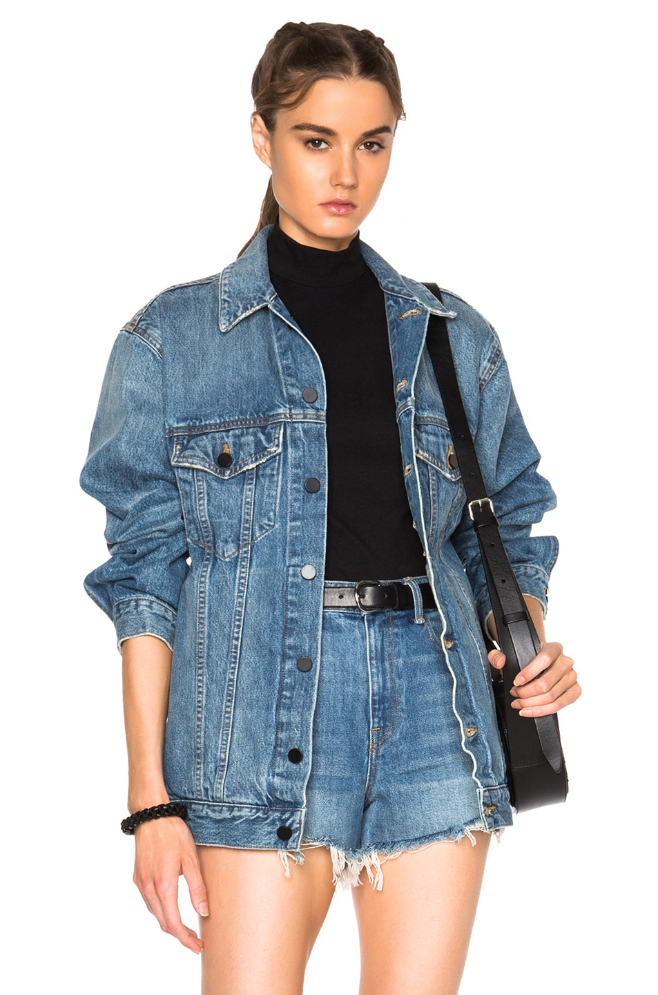 Image 1 of Alexander Wang Daze Oversized Jacket in Light Indigo Aged