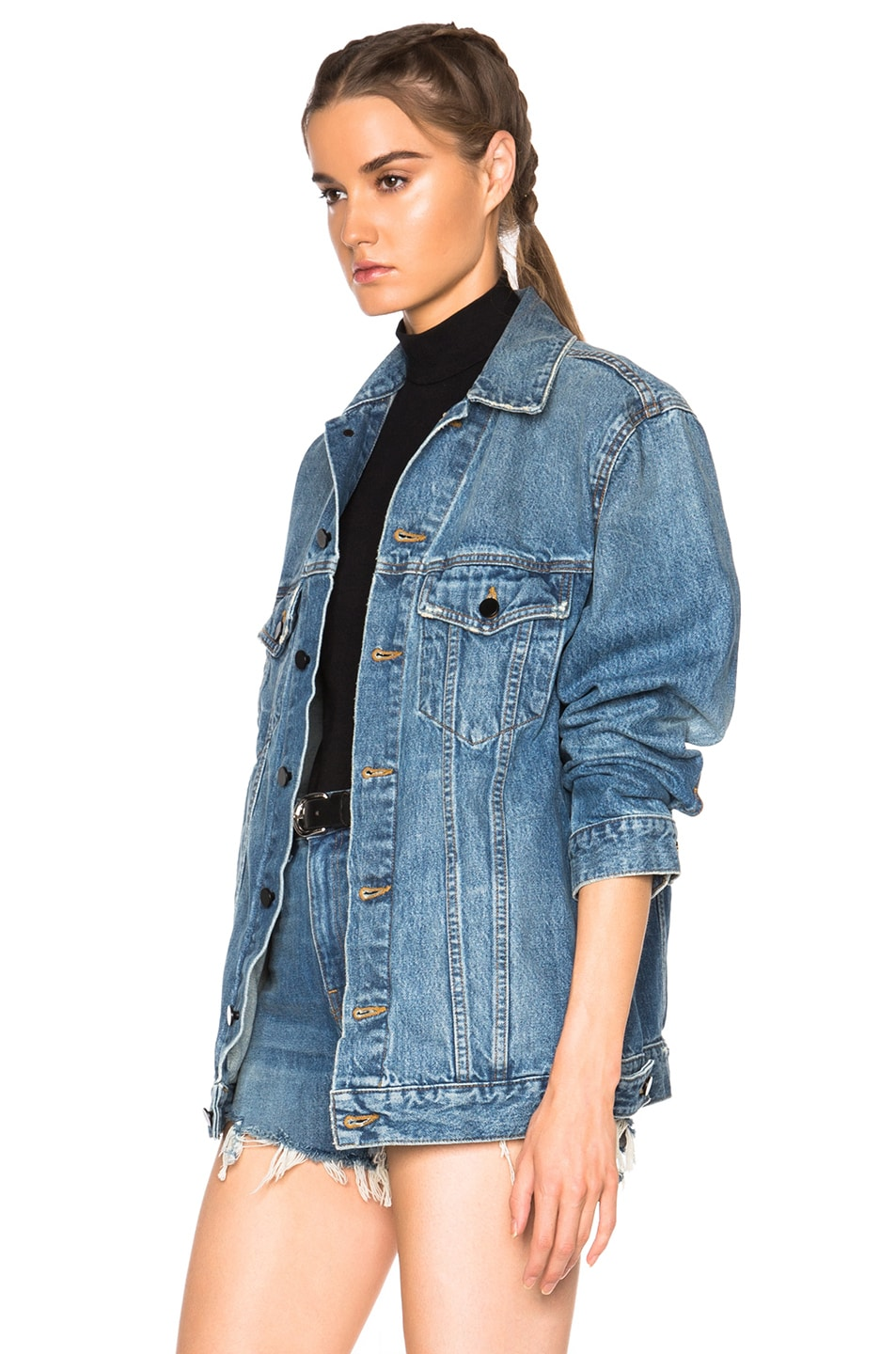 Image 2 of Alexander Wang Daze Oversized Jacket in Light Indigo Aged