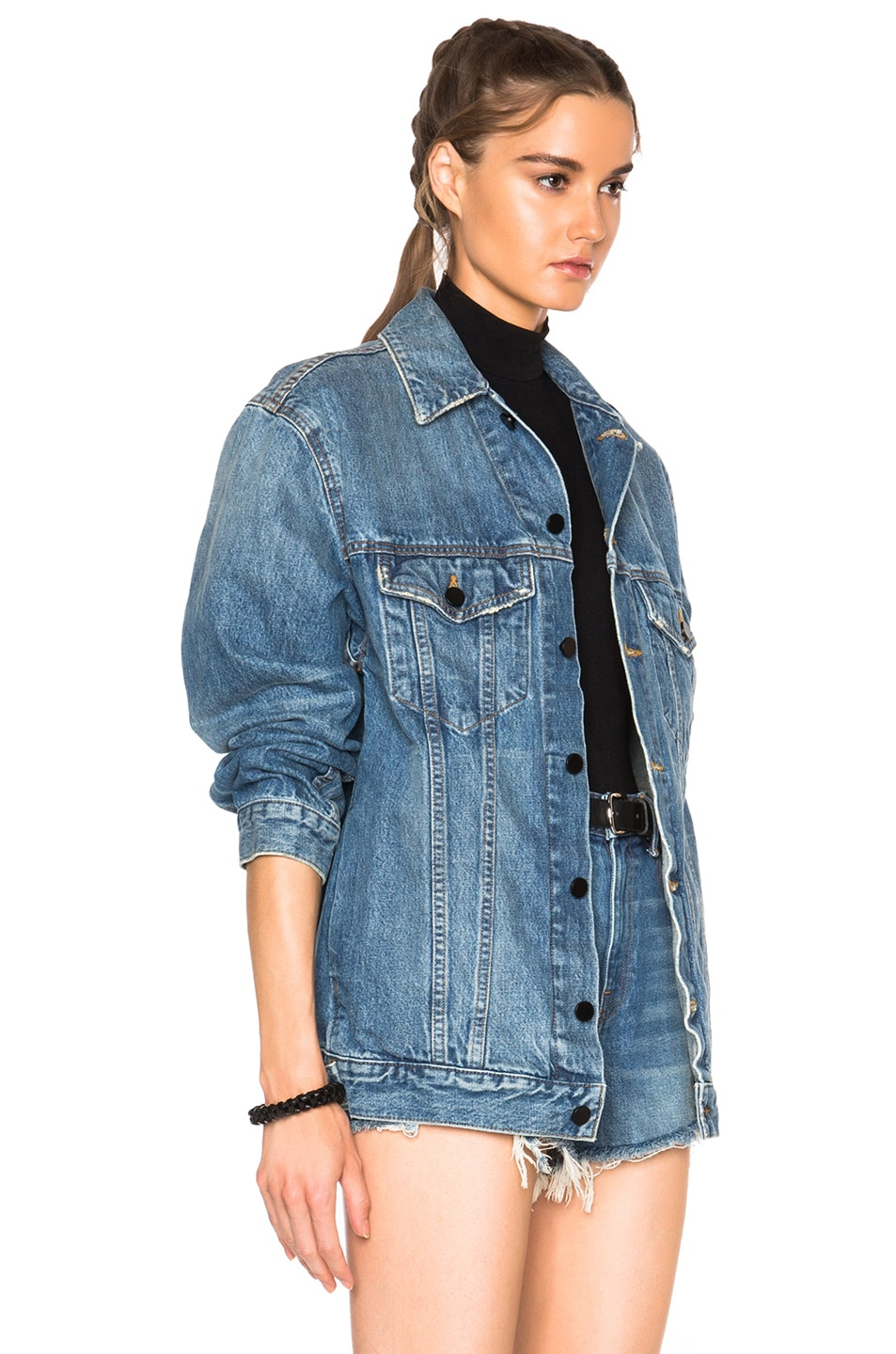 Image 3 of Alexander Wang Daze Oversized Jacket in Light Indigo Aged
