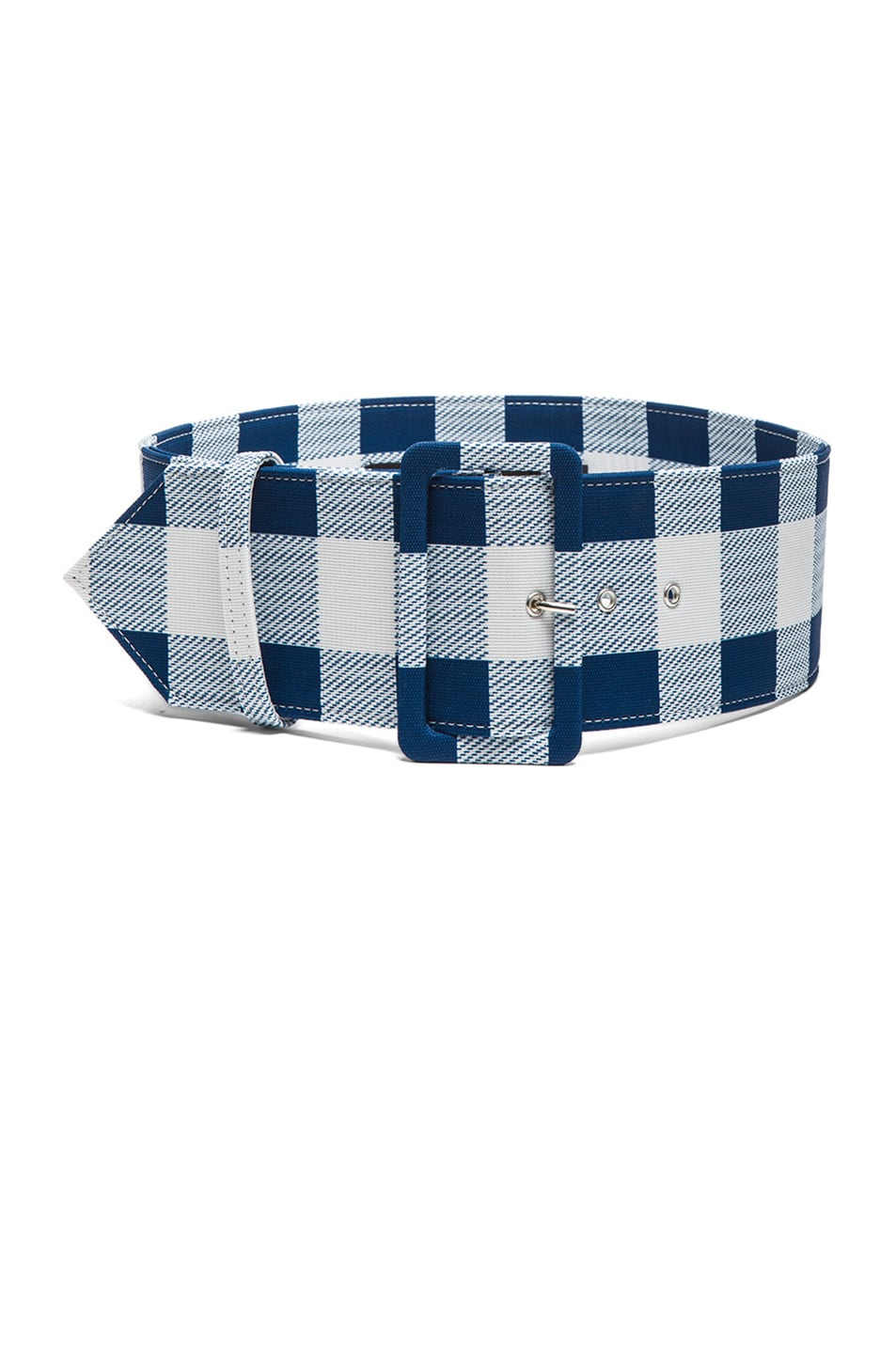 Image 1 of Derek Lam Plaid Faille Wide Belt in Lagoon
