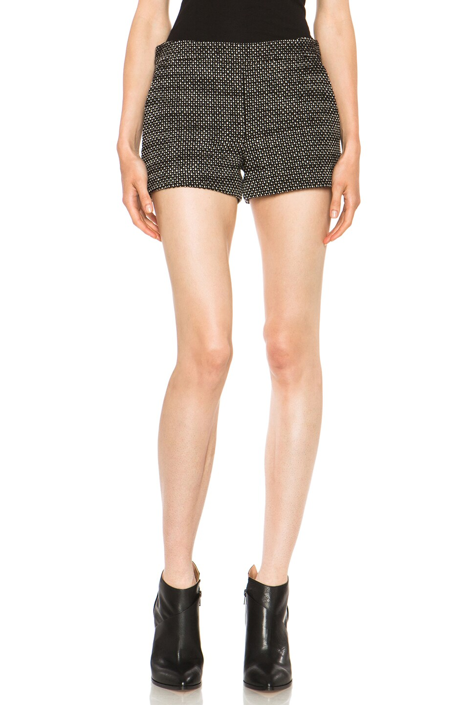 Image 1 of Derek Lam Graphic Tweed Wool Shorts in Black & White