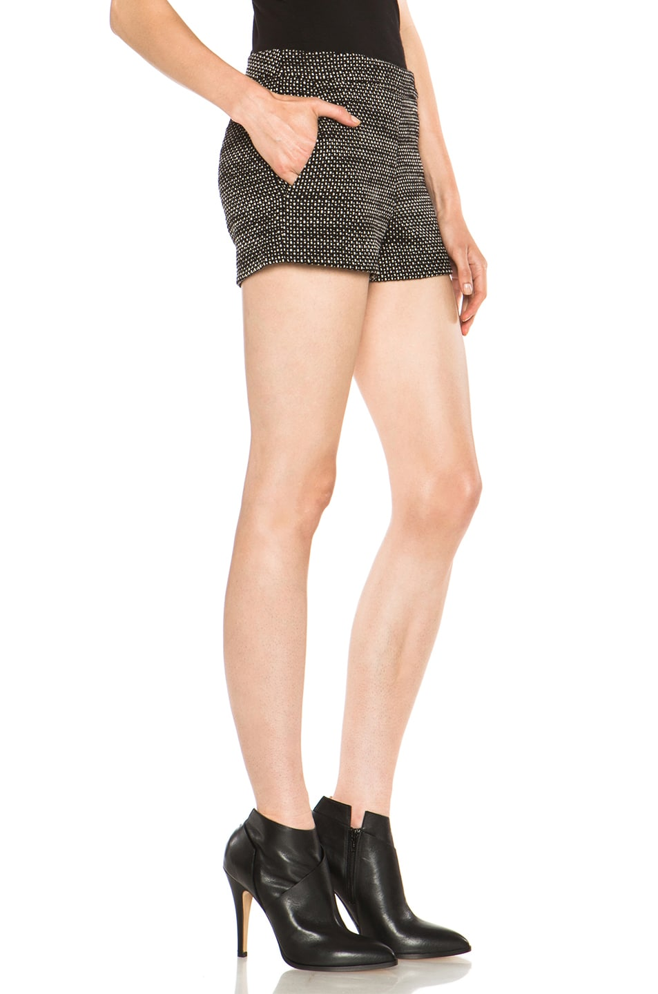 Image 3 of Derek Lam Graphic Tweed Wool Shorts in Black & White