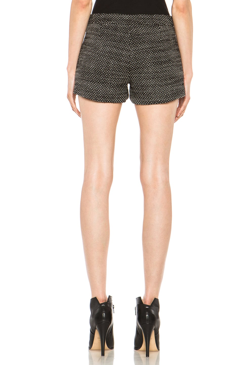 Image 4 of Derek Lam Graphic Tweed Wool Shorts in Black & White