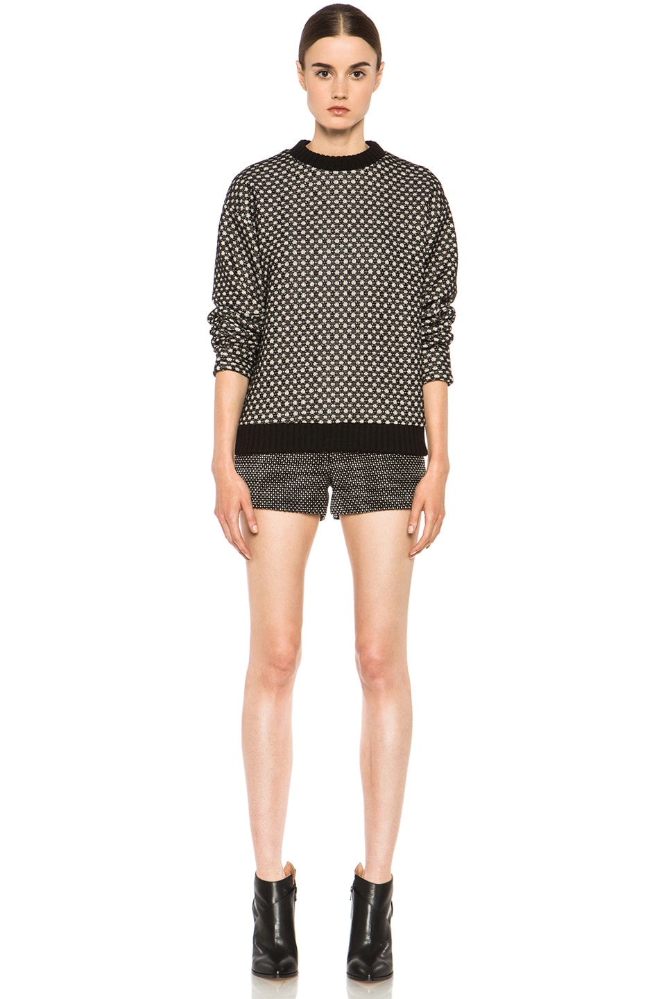 Image 5 of Derek Lam Graphic Tweed Wool Shorts in Black & White