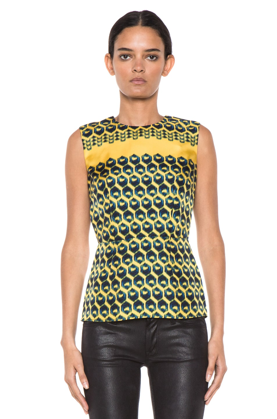 Image 1 of Derek Lam Wood Block Print Sleeveless Blouse in Sun & Black & Ink