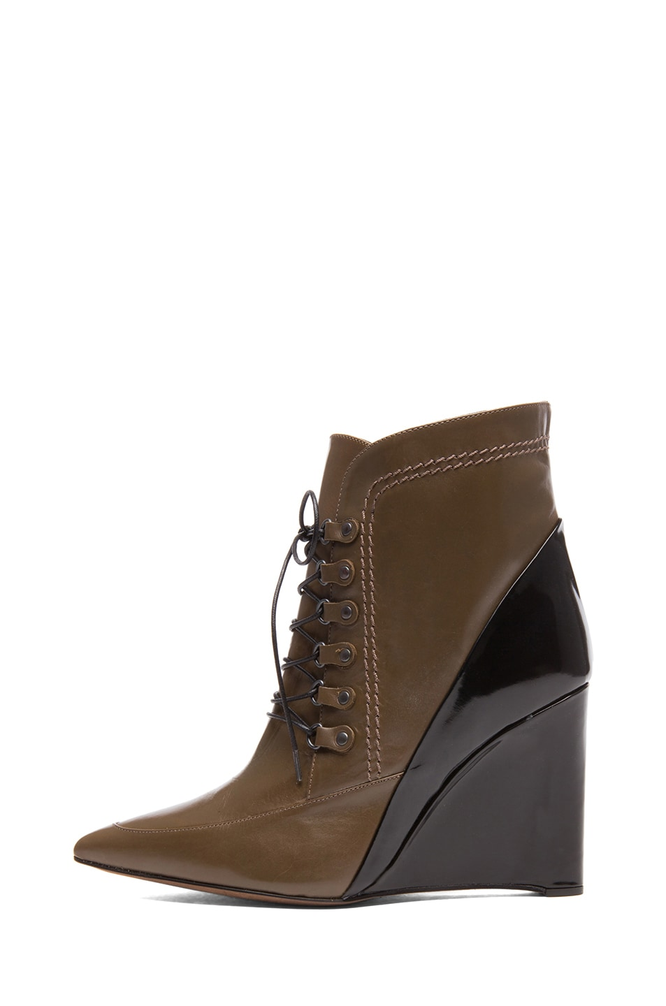 Image 1 of Derek Lam Maxine Calfskin Leather Pointy Toe Ankle Boots in Doe & Black