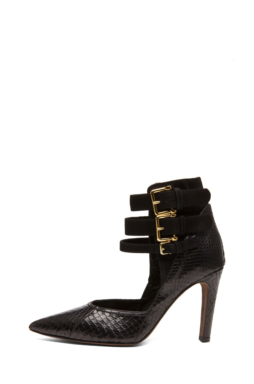 Image 1 of Derek Lam Paloma Whip Snake Heels in Black Whips & Suede