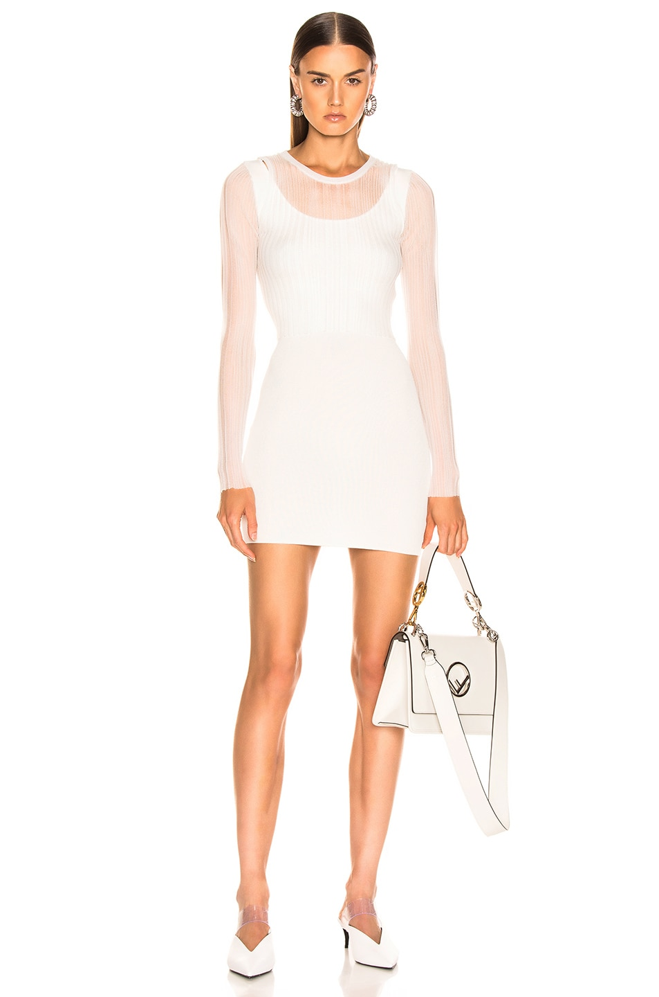 Image 1 of Dion Lee Shadow Pleat Mini Dress in Ivory