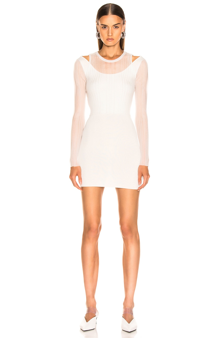 Image 2 of Dion Lee Shadow Pleat Mini Dress in Ivory