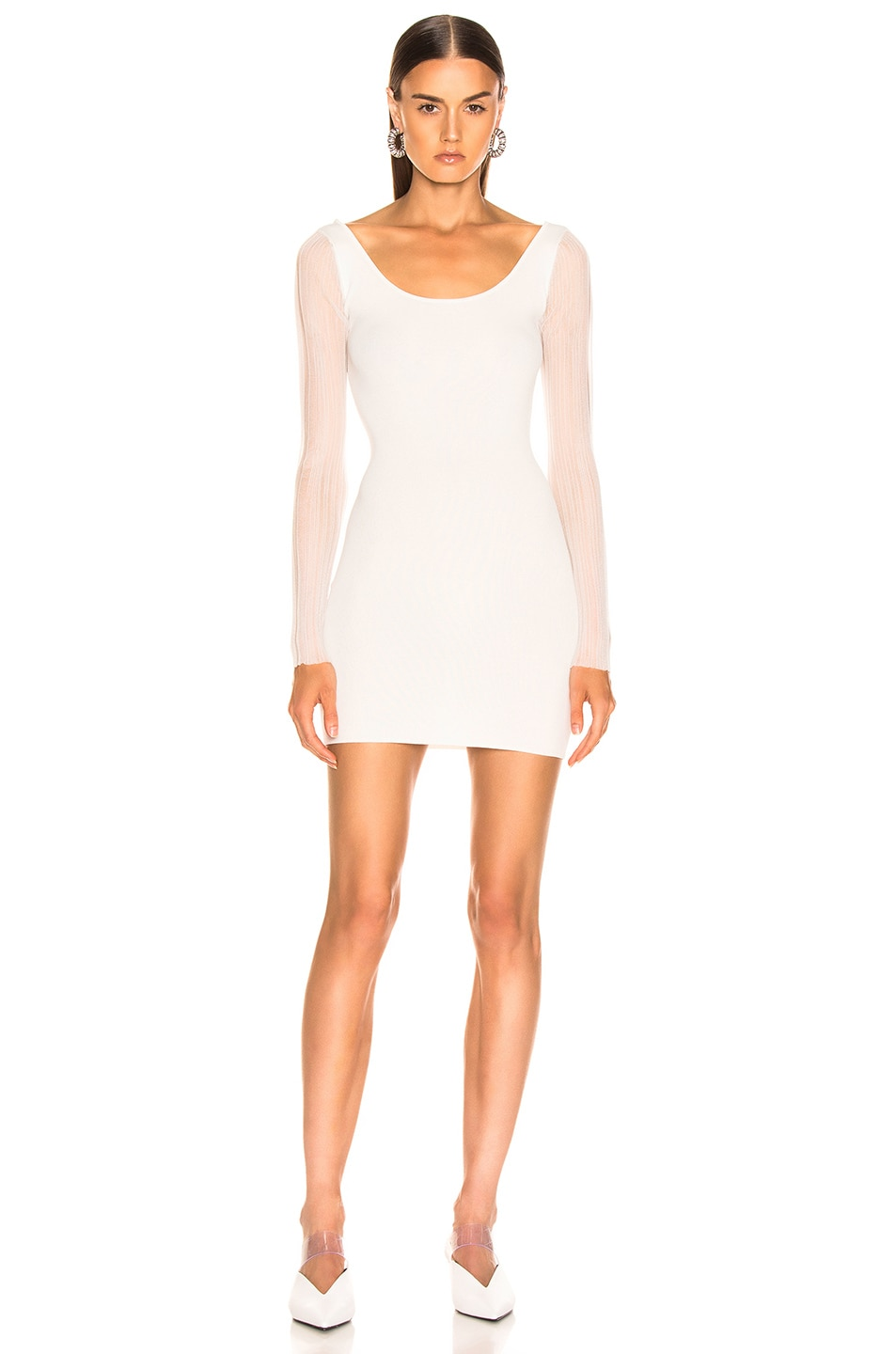 Image 3 of Dion Lee Shadow Pleat Mini Dress in Ivory