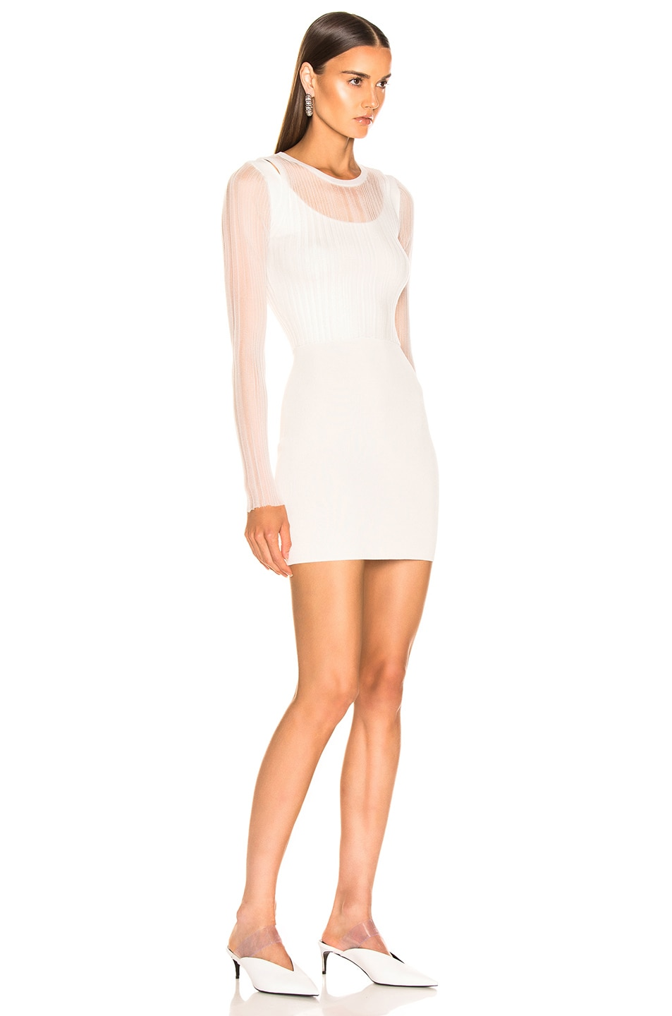 Image 4 of Dion Lee Shadow Pleat Mini Dress in Ivory