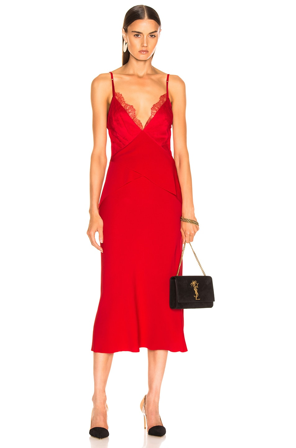 Image 1 of Dion Lee Stencil Lace Bias Dress in Cherry