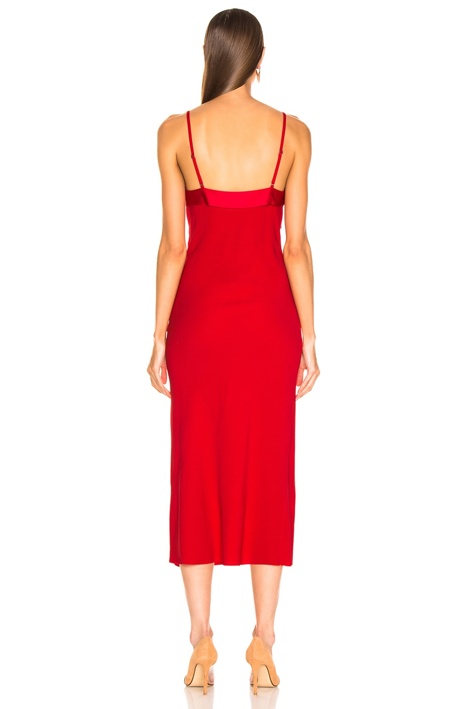 Image 3 of Dion Lee Stencil Lace Bias Dress in Cherry