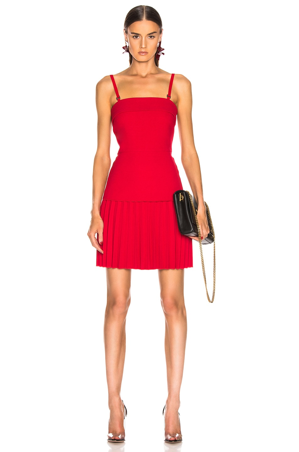 Image 1 of Dion Lee Linear Pleat Mini Dress in Cherry
