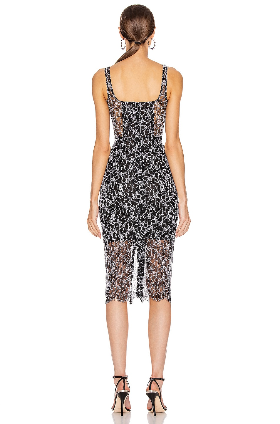 Image 3 of Dion Lee Vein Lace Corset Dress in Black & White