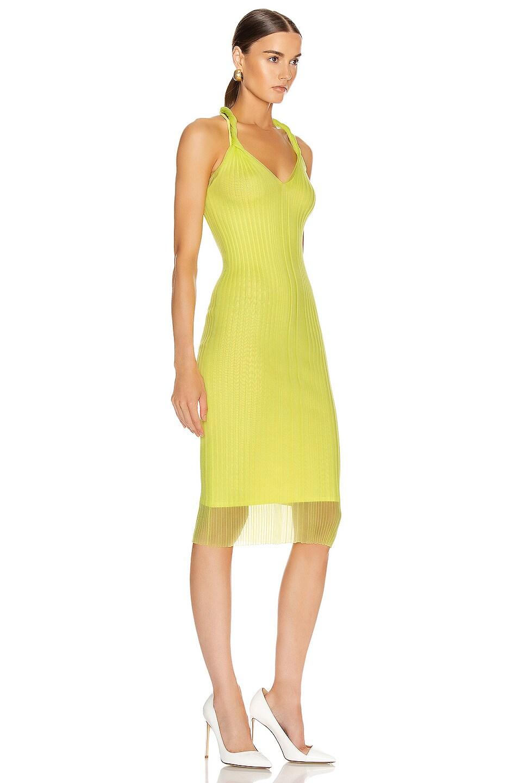 Image 2 of Dion Lee Sheer Pleat Twist Tank Dress in Zest