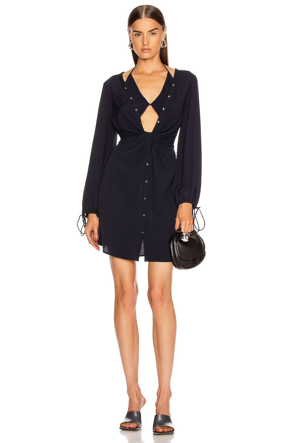 Image 1 of Dion Lee Twist Placket Tunic Dress in Ink
