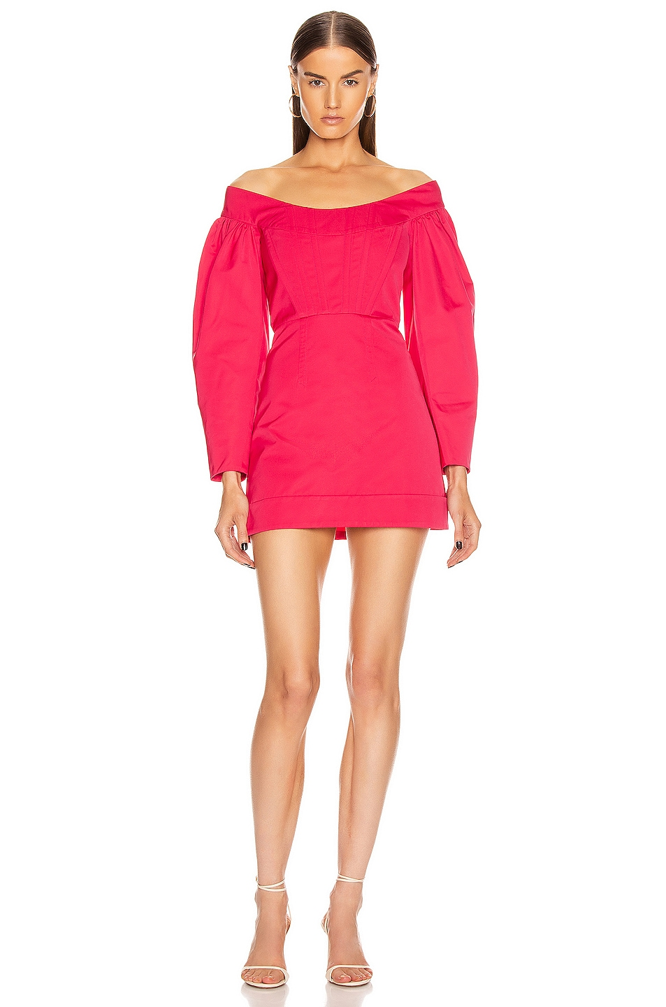 Image 1 of Dion Lee Cinched Ruffle Mini Dress in Cerise