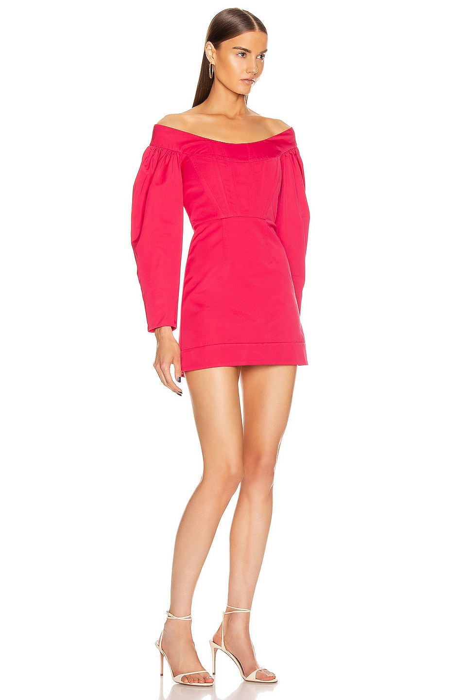 Image 2 of Dion Lee Cinched Ruffle Mini Dress in Cerise