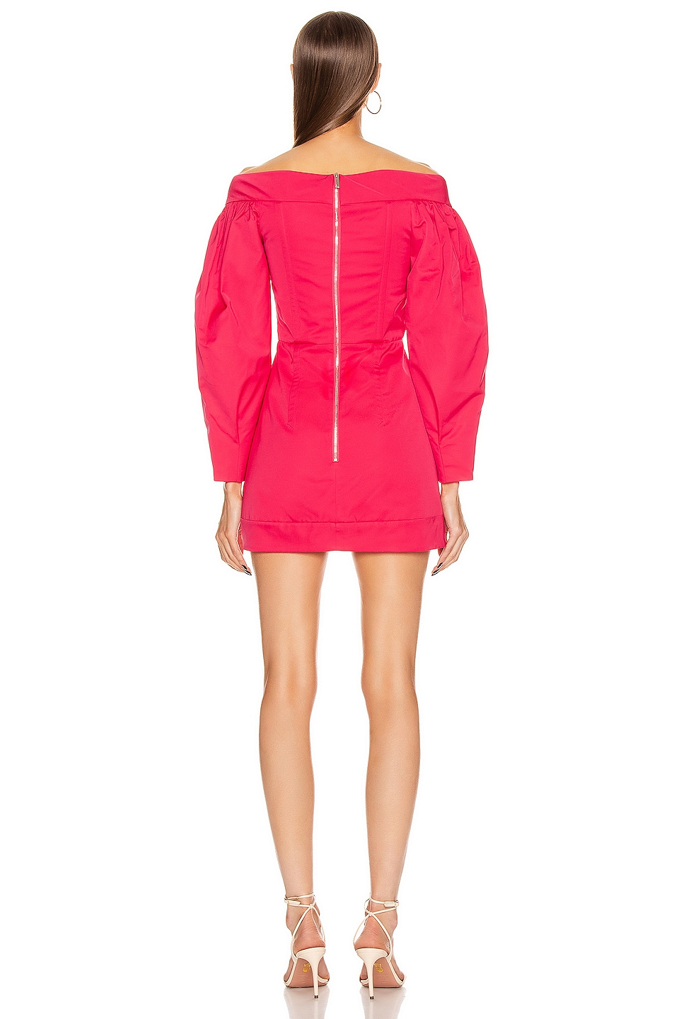 Image 3 of Dion Lee Cinched Ruffle Mini Dress in Cerise