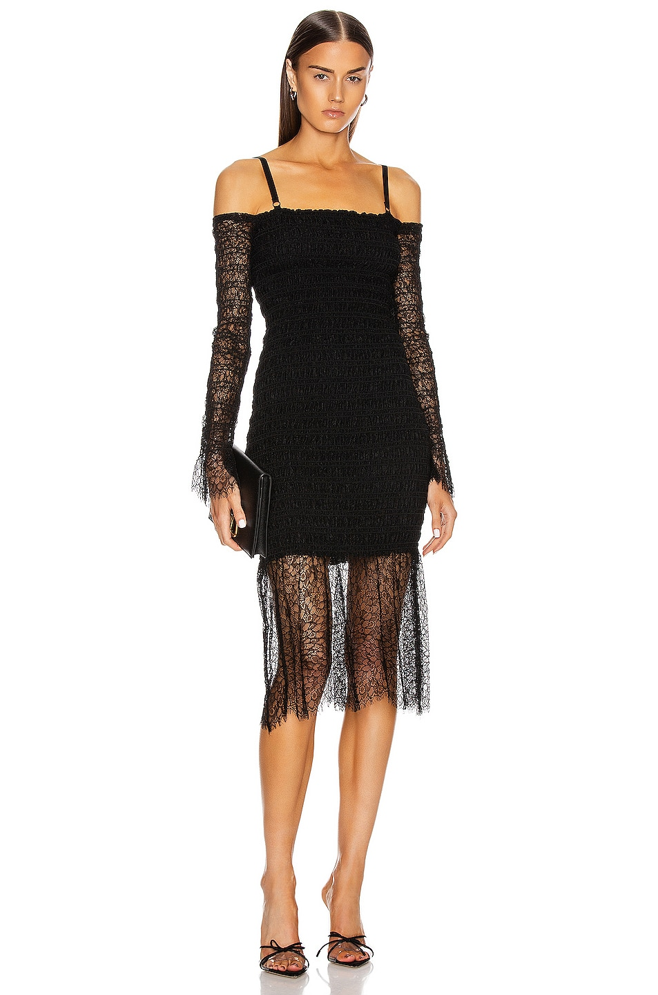 Image 1 of Dion Lee Shirred Elapid Lace Dress in Black