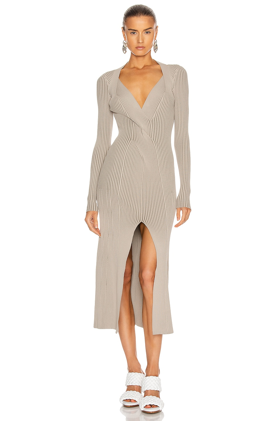 Image 1 of Dion Lee Cable Twist Dress in Taupe & Slate Green