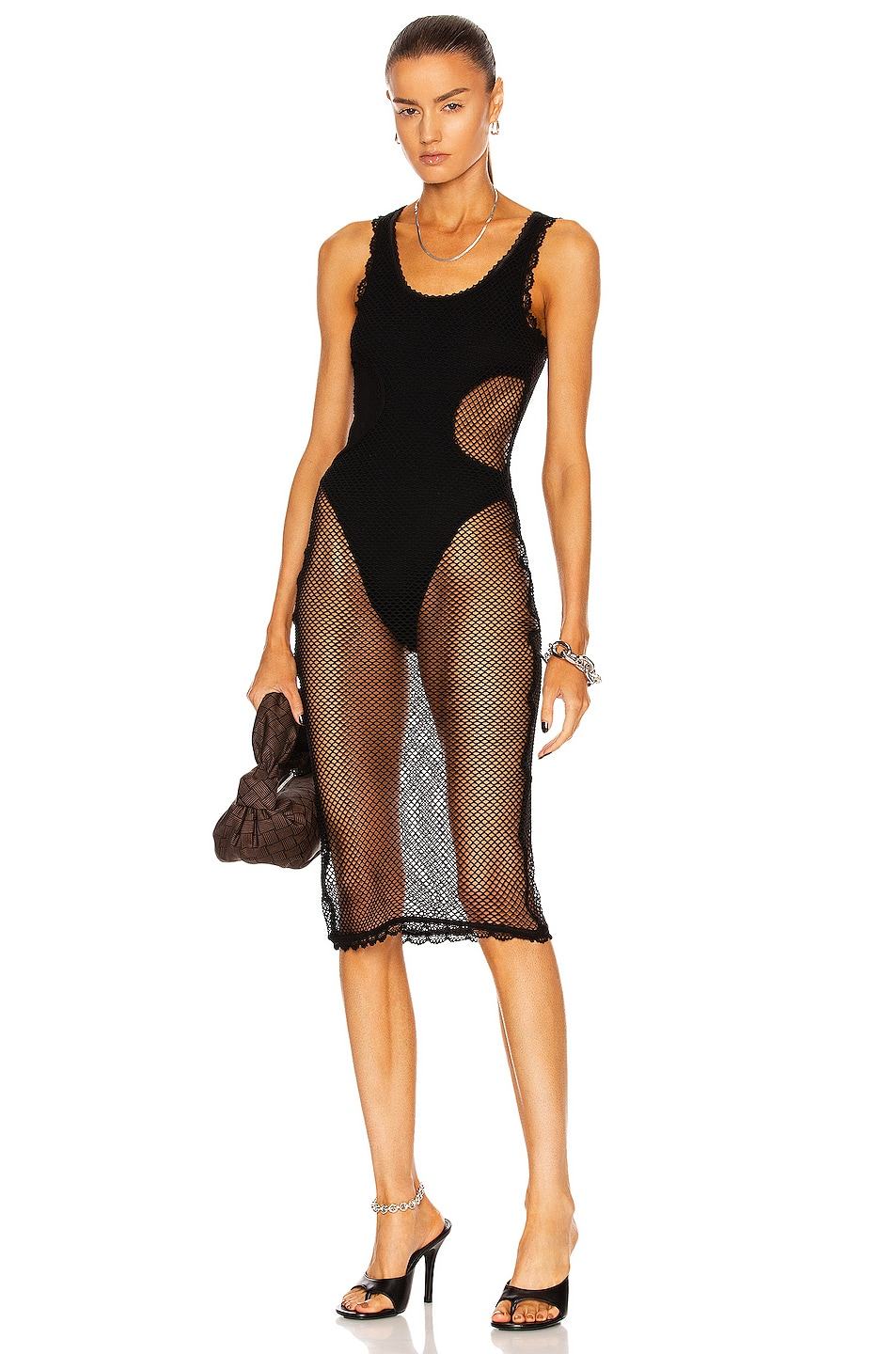 Image 1 of Dion Lee Net Layered Dress in Black