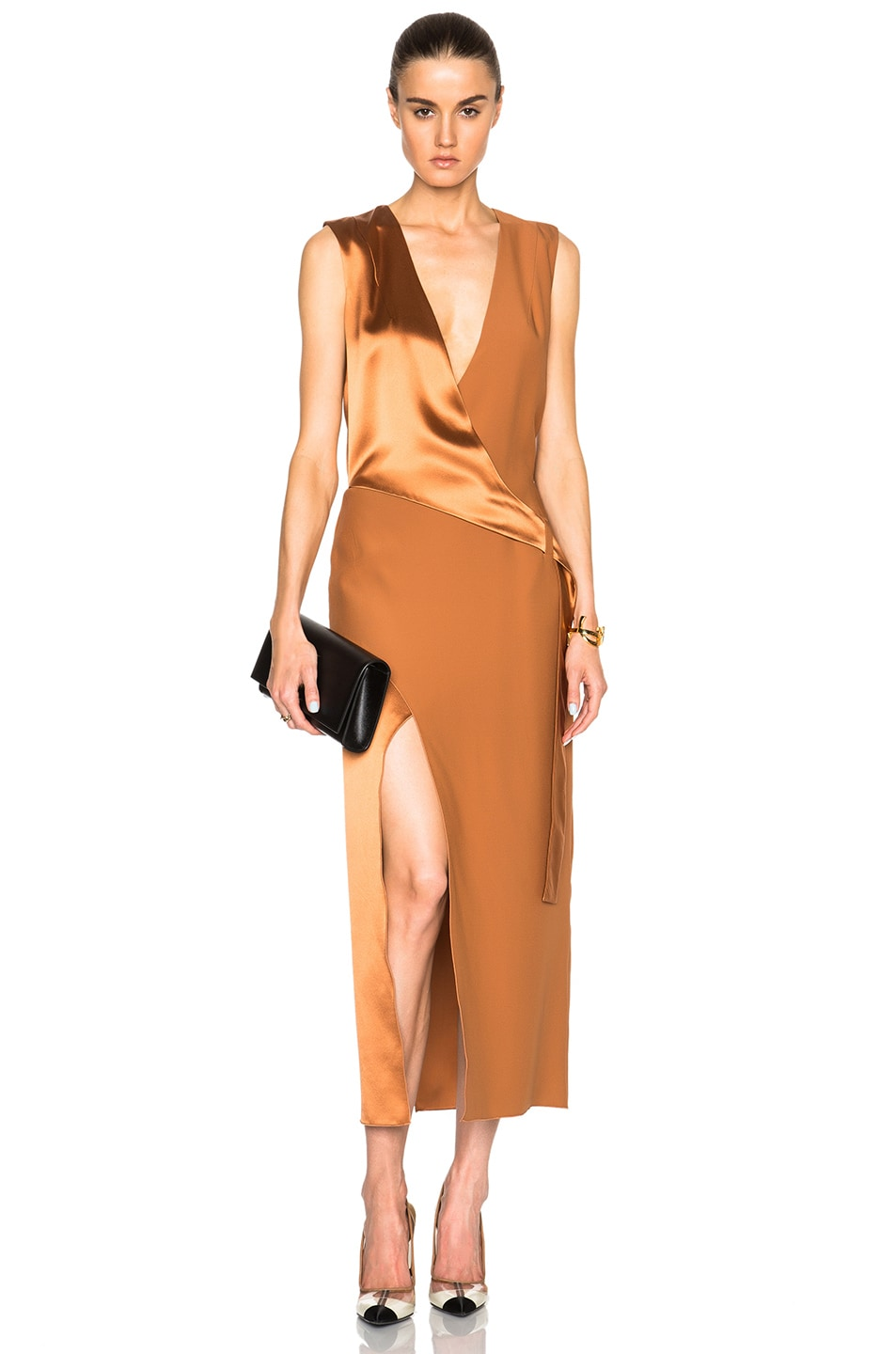 Image 1 Of Dion Lee Silk Satin Belted Shell Dress In Copper