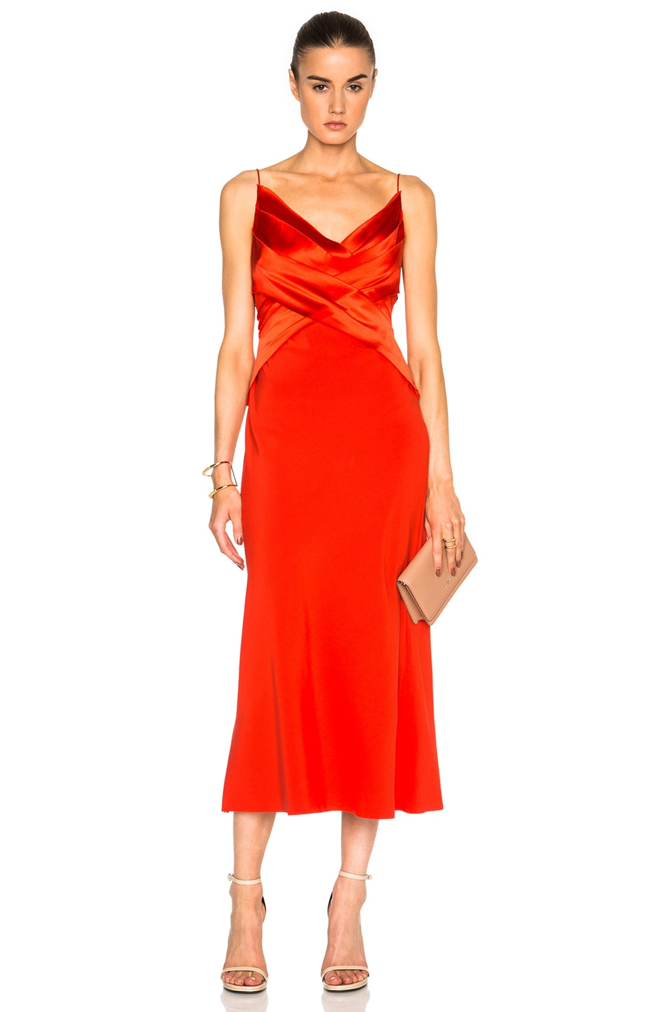 Image 1 of Dion Lee Silk Satin Bias Weave Dress in Vermillion