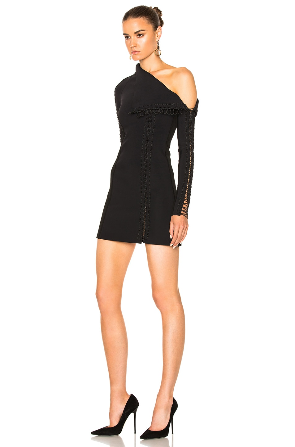 Image 2 of Dion Lee Corded Elastic Laced Dress in Black