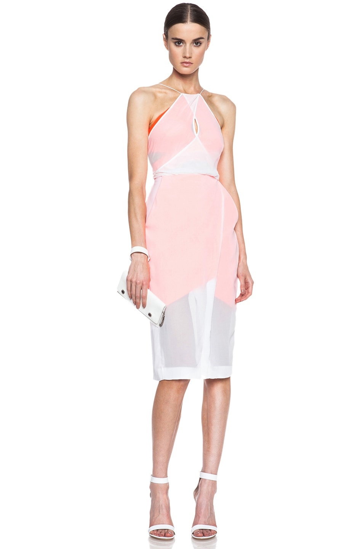 Image 1 of Dion Lee Vertigo Layered Silk Dress in White & Fluro