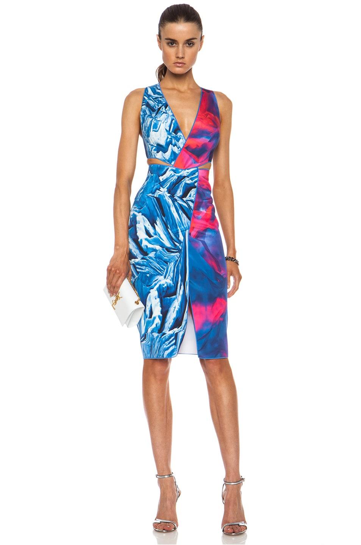 Image 1 of Dion Lee Reverse Terrain Silk Locked Dress in Frozen Clouds