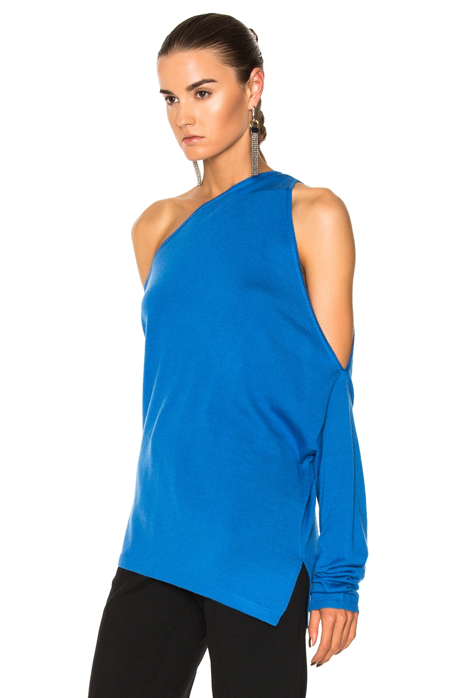 Image 3 of Dion Lee Falling Knit Sweater in Cerulean Blue