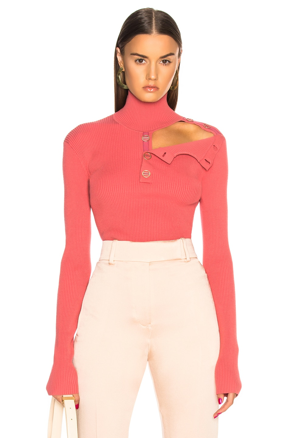 Dion Lee DION LEE BUTTON GROSGRAIN SKIVVY SWEATER IN PINK