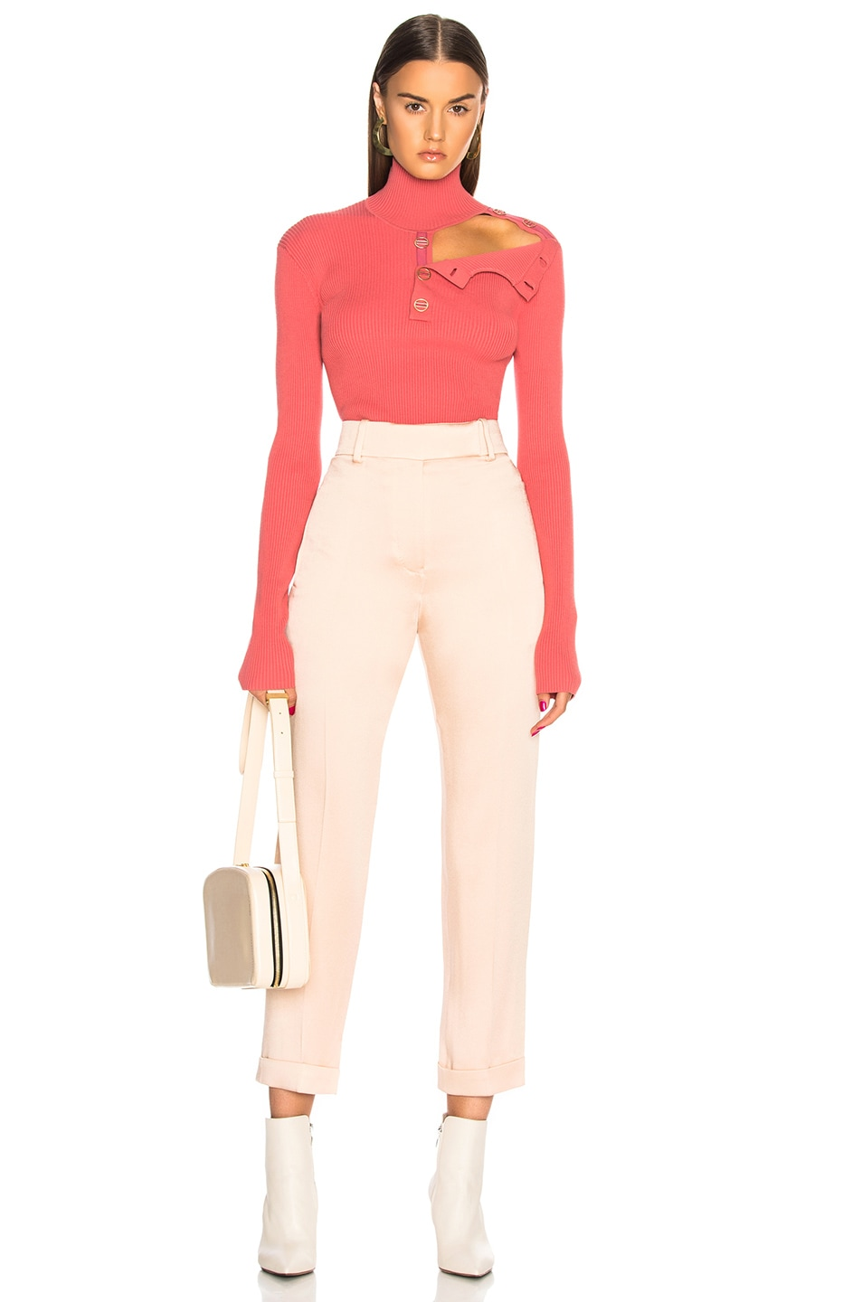 DION LEE Sweaters DION LEE BUTTON GROSGRAIN SKIVVY SWEATER IN PINK